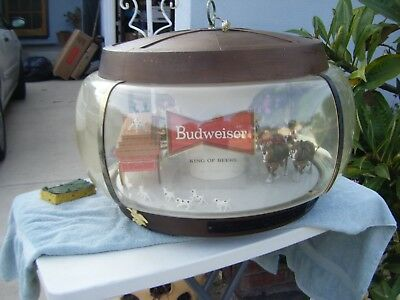 Budweiser Beer Championship Clydesdale Parade Light Up Bar Chandelier Brewing Ad