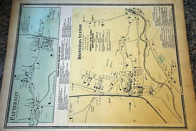 1867 Rare Beautiful Antique Beers Atlas Map-Patterson, New York-Handcolored