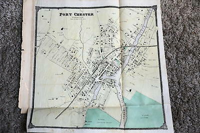 1867 Rare Beautiful Antique Beers Atlas Map-Port Chester, New York-Handcolored
