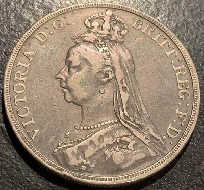 1889 Great Britain Silver One Crown-Nice Circulated British Coin-