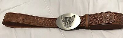 Boy Scout BSA hand Tooled Leather Belt Vintage 32 inch with amazing BUCKLE