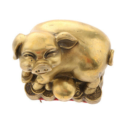 Pure Brass Chinese Fengshui Decor Zodiac Animal Pig Statue  Symbol