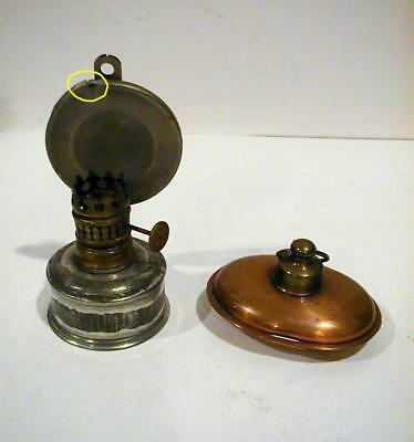 2  Antique Doll House Furniture Copper Bed Warmer & Tin Hanging Oil Lamp