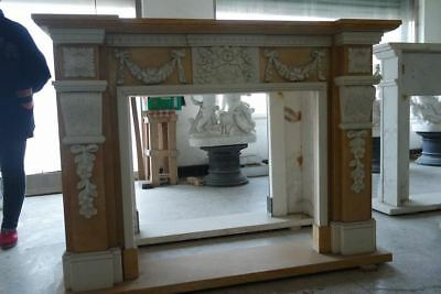 Hand Carved Beige & Amber Marble Fireplace Mantel Ornate Carvings,60'' x 47''
