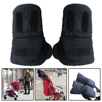 Winter Windproof Warm Gloves Fleece Mittens Hand Muff for Baby Stroller black