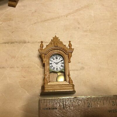 Commercially made mantle clock in 1:12 scale,well made.VGC
