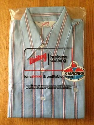 NOS Vintage STANDARD Oil Company Gas Service Station Employee SHIRT w/Patch NIP