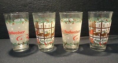 4 BEER GLASSES BUDWEISER HAPPY HOLIDAYS LIBBEY 16 OZ HEAVY Frosted