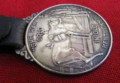 Fine Antique Silver Plated Green River Whiskey Watch Fob~Maker Marked W/strap