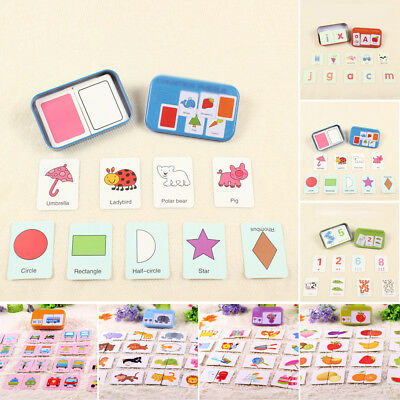Baby Toddler Iron Box Cards Matching Game Family Early Educational Learning Toys