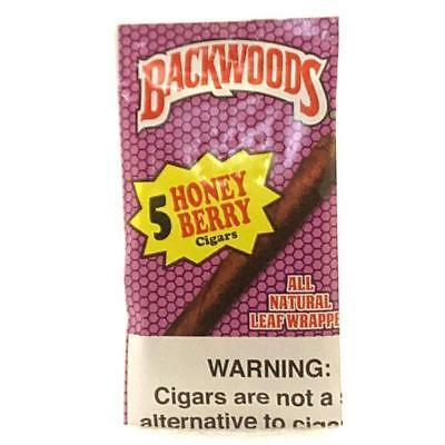 Backwoods Natural Leaf Cigars Honey Berry Fresh Pack Of 5 Fast Free Shipping