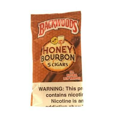 Backwoods Natural Leaf Cigars Honey Bourbon Fresh Pack Of 5 Fast Free Shipping