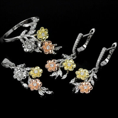 Aaa White Cubic Zirconia Round Sterling 925 Silver 3-Tone Flower Set Size 9.75