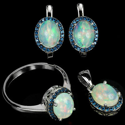 Natural Aaa Rainbow Opal 9X7 Oval Cabochon & Cz Sterling 925Silver Set Size 9.25