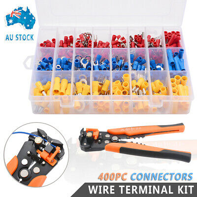 Electrical Wire Terminal Kit Cutter Stripper Plier Crimper + 400Pc Connectors