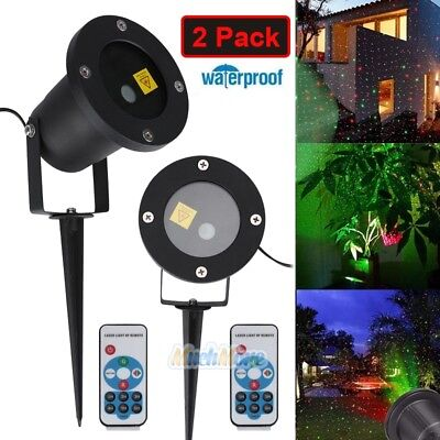 2x R&G Laser Fairy Light Projection Projector X'mas Outdoor Landscape LED Lamp