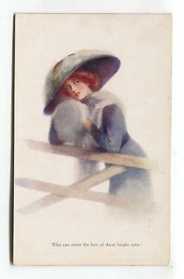 Helena Horwitz - young woman, large hat - old Tuck postcard No. 2943