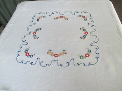 PRETTY TABLECLOTH DECORATED with HAND EMBROIDERY-WHITE COTTON