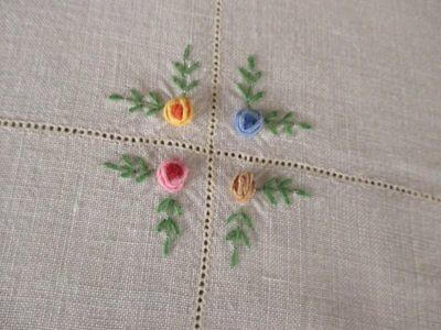 "VINTAGE TABLECLOTH HAND EMBROIDERED SMALL FLOWERS-48""sq."