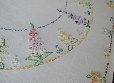 Vintage Tablecloth Hand Embroidered Small Flowers