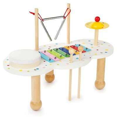4 in 1 Musical Wooden Toy Kids Activity Table Drum Xylophone Symbal Triangle New