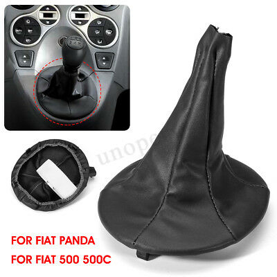 1x Gear Stick Shift Knob Gaiter Boot Cover Black Leather For Fiat 500 500c PANDA