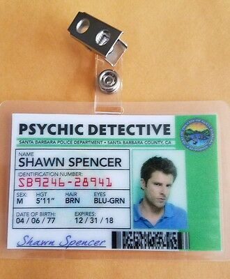 Psych TV Show ID Badge - Shawn Spencer prop cosplay costume