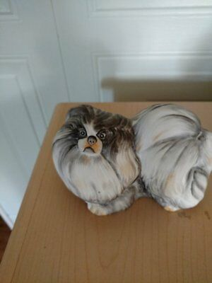 Handcrafted Hungary Hollohaza Pekingese Gray DOG Figurine