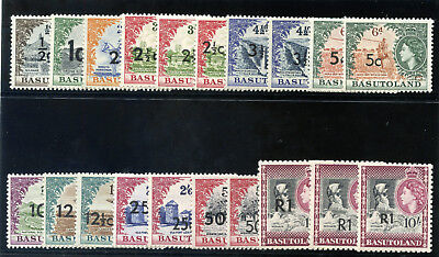 Basutoland 1961 QEII complete set of all types of surcharges MNH. SG 58-68b.