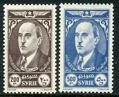 Syria 1944 Airmail 200p & 500p SG 385-386 hinged mint (cat. £46)