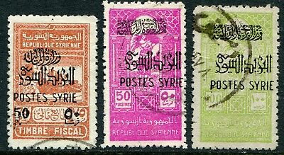 Syria 1945 opt. on fiscal issue 50p/75p, 50p & 100p SG 416-418 used (cat. £16)