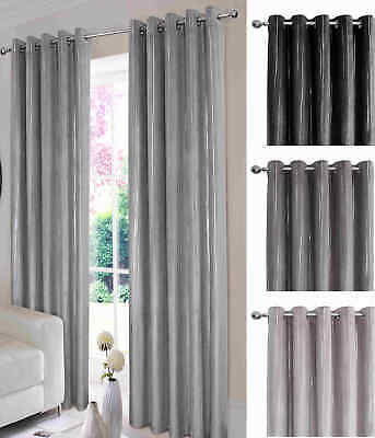 "Thermal Velvet Curtains Lined Eyelet Ring Top  ""Glimmer"" Black Grey Silver"