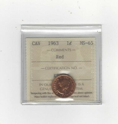 **1963**,ICCS Graded Canadian, Small One Cent, **MS-65**