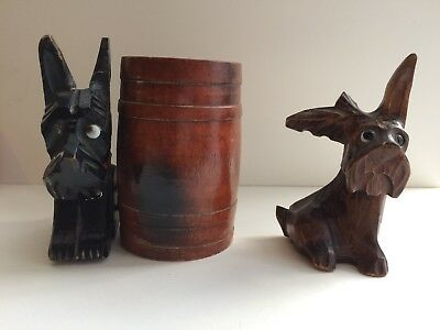 2 Rare Unusual Vintage Black Forest Carving Terriers Collectors Items