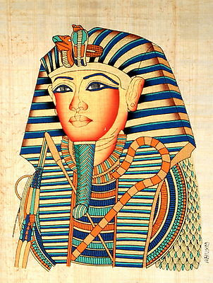 "Egyptian Papyrus Beautiful Artwork - 9"" x 13"" Ancient Art - King Tut's Mask"