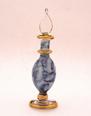 Egyptian Perfume Bottles -Blown Glass Hand Painted- Blue Marbled 8-1025-51