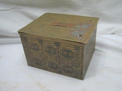 Early Vintage Brass Cedar Wood Lined humidor Cigar Box Ornate Mission Decor