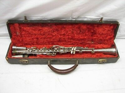 Vintage Sonata Metal Clarinet Musical Instrument w/Case Silver Plated