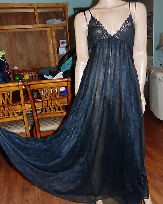 Vintage Lily Of France Long Full Sweep Double Chiffon Lace Nightgown,med-Bust 36