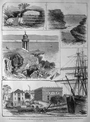 Sydney , Macquarie's Chair , the Gap , Hornby Light , Wool Store - Stich v.1879