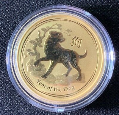 1/4 oz .999 fine gold perth mint year of the dog coin 2018