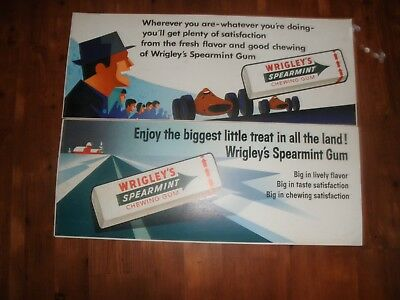Lot Of 2 Vintage Wrigley's Spearmint Chewing Gum Cardboard Signs 1950's