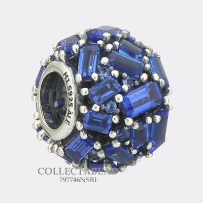 Authentic Pandora Silver Blue Crystal Chiselled Elegance Bead 797746NSBL **NEW**