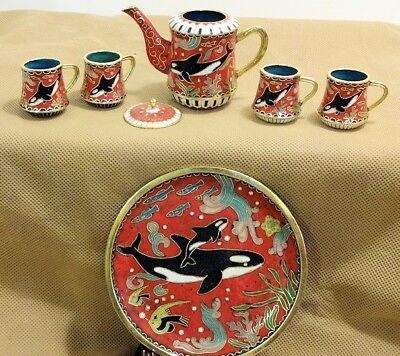 Cloisonne Killer Whale Tea Set - Red & White