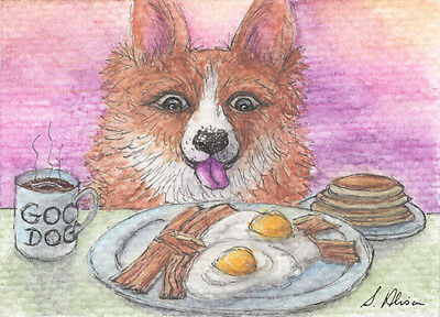 Welsh corgi dog orig ACEO ATC mini painting by Susan Alison breakfast for dinner