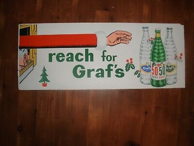 VINTAGE REACH FOR GRAF'S 50 Beer Advertising CHRISTMAS CARDBOARD Sign 1950'S
