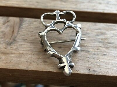 Fine Antique Victorian Sterling Silver Crown & Heart Design Brooch Circa 1880