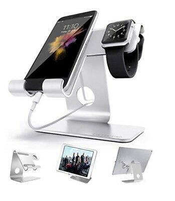 Zve Apple Iwatch Charging Stand, Universal Cell Phone Stand, Silver