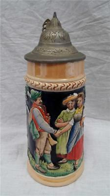 Vintage Lidded Beer Stein #1644 Forrest Lodge Man Woman- Made In West Germany