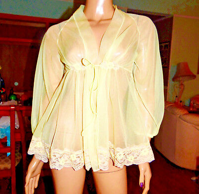 Vintage Chiffon & Lace Babydoll Nightgown Or Peignoir Robe, Med-Bust 40